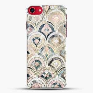 Art Deco Marble Tiles In Soft Pastels iPhone 7 Case, White Plastic Case | JoeYellow.com