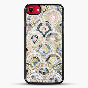 Art Deco Marble Tiles In Soft Pastels iPhone 7 Case, Black Rubber Case | JoeYellow.com