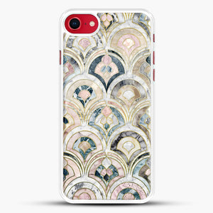 Art Deco Marble Tiles In Soft Pastels iPhone 7 Case, White Rubber Case | JoeYellow.com