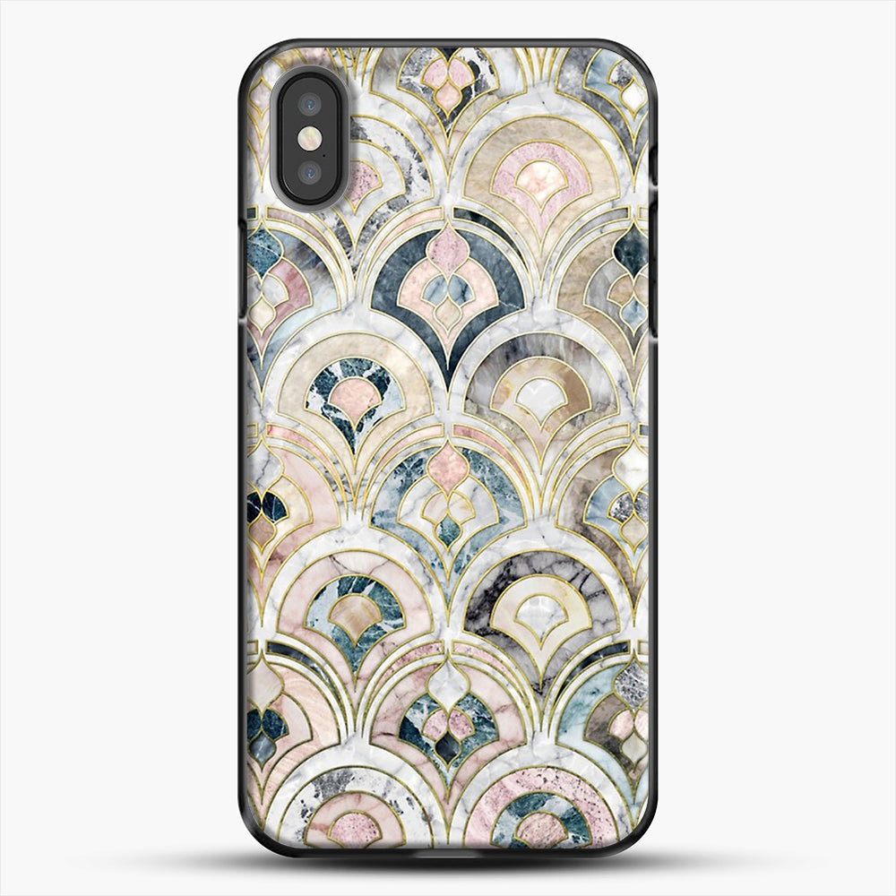 Art Deco Marble Tiles In Soft Pastels iPhone X Case, Black Plastic Case | JoeYellow.com
