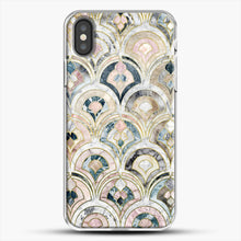 Load image into Gallery viewer, Art Deco Marble Tiles In Soft Pastels iPhone X Case, White Plastic Case | JoeYellow.com