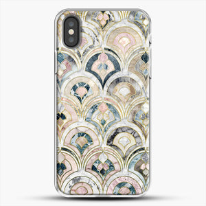 Art Deco Marble Tiles In Soft Pastels iPhone X Case, White Plastic Case | JoeYellow.com