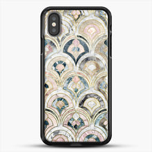 Load image into Gallery viewer, Art Deco Marble Tiles In Soft Pastels iPhone X Case, Black Rubber Case | JoeYellow.com