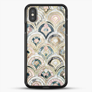Art Deco Marble Tiles In Soft Pastels iPhone X Case, Black Rubber Case | JoeYellow.com