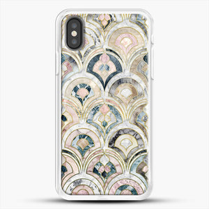 Art Deco Marble Tiles In Soft Pastels iPhone X Case, White Rubber Case | JoeYellow.com
