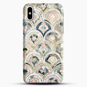 Art Deco Marble Tiles In Soft Pastels iPhone X Case, Black Snap 3D Case | JoeYellow.com