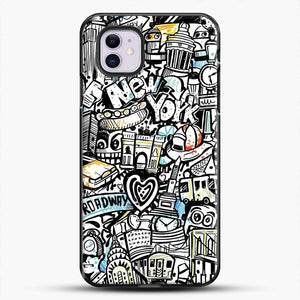 Black And White Doodle Illustration Cartoon iPhone 11 Case
