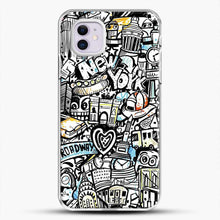 Load image into Gallery viewer, Black And White Doodle Illustration Cartoon iPhone 11 Case