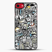 Load image into Gallery viewer, Black And White Doodle Illustration Cartoon iPhone 8 Case