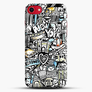 Black And White Doodle Illustration Cartoon iPhone 8 Case