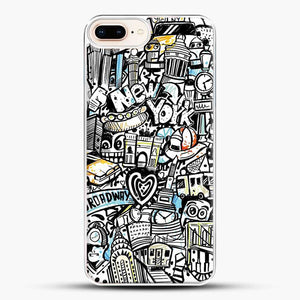 Black And White Doodle Illustration Cartoon iPhone 8 Plus Case