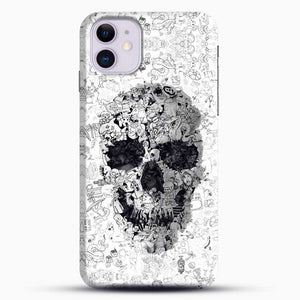 Black And White Doodle Illustration Skull iPhone 11 Case