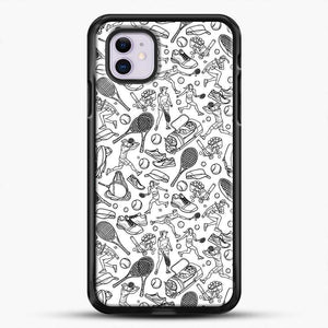 Black And White Doodle Illustration Tennis Doodle iPhone 11 Case