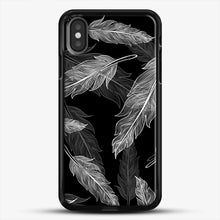 Load image into Gallery viewer, Black And White Feathers iPhone Case, Black Rubber Case | JoeYellow.com