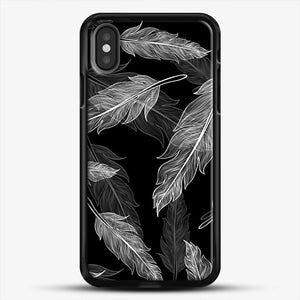 Black And White Feathers iPhone Case, Black Rubber Case | JoeYellow.com