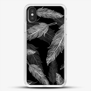 Black And White Feathers iPhone Case, White Rubber Case | JoeYellow.com