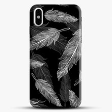 Load image into Gallery viewer, Black And White Feathers iPhone Case, Black Snap 3D Case | JoeYellow.com