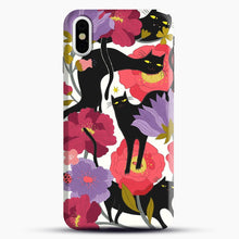 Load image into Gallery viewer, Black Cats With Flowers iPhone Case| Plastic, Snap 3D, & Rubber | joeyellow.com