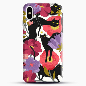 Black Cats With Flowers iPhone Case| Plastic, Snap 3D, & Rubber | joeyellow.com