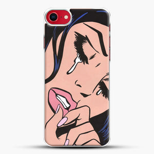 Black Hair Crying Comic Girl iPhone 8 Case, White Plastic Case | JoeYellow.com