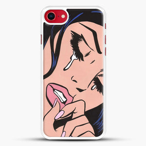 Black Hair Crying Comic Girl iPhone 8 Case, White Rubber Case | JoeYellow.com