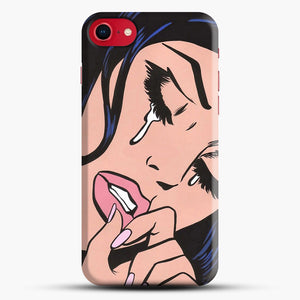 Black Hair Crying Comic Girl iPhone 8 Case, Black Snap 3D Case | JoeYellow.com