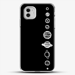 Black Planets iPhone 11 Case, White Plastic Case | JoeYellow.com