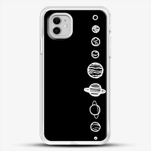 Black Planets iPhone 11 Case, White Rubber Case | JoeYellow.com