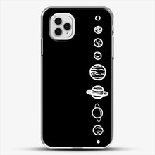 Load image into Gallery viewer, Black Planets iPhone 11 Pro Case, White Plastic Case | JoeYellow.com