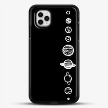 Load image into Gallery viewer, Black Planets iPhone 11 Pro Case, Black Rubber Case | JoeYellow.com