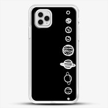 Load image into Gallery viewer, Black Planets iPhone 11 Pro Case, White Rubber Case | JoeYellow.com