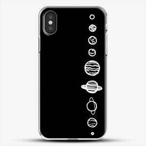 Black Planets iPhone X Case, White Plastic Case | JoeYellow.com