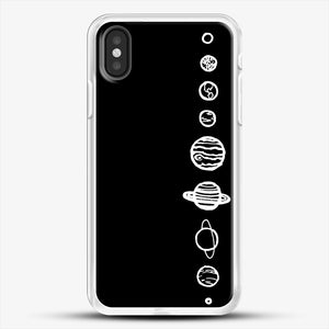 Black Planets iPhone X Case, White Rubber Case | JoeYellow.com