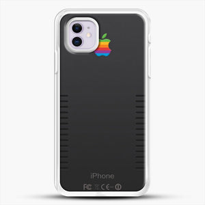 Black Retro iPhone iPhone 11 Case, White Rubber Case | JoeYellow.com