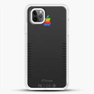Black Retro iPhone iPhone 11 Pro Max Case, White Rubber Case | JoeYellow.com