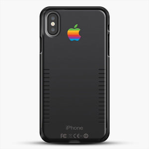 Black Retro iPhone iPhone X Case, Black Rubber Case | JoeYellow.com