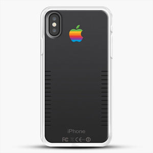 Black Retro iPhone iPhone X Case, White Rubber Case | JoeYellow.com