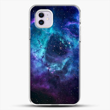 Load image into Gallery viewer, Blue Galaxy iPhone 11 Case, White Plastic Case | JoeYellow.com