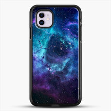 Load image into Gallery viewer, Blue Galaxy iPhone 11 Case, Black Rubber Case | JoeYellow.com