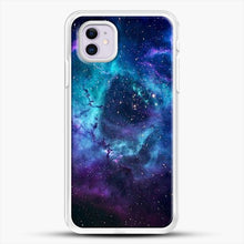 Load image into Gallery viewer, Blue Galaxy iPhone 11 Case, White Rubber Case | JoeYellow.com