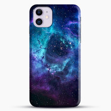 Load image into Gallery viewer, Blue Galaxy iPhone 11 Case, Black Snap 3D Case | JoeYellow.com