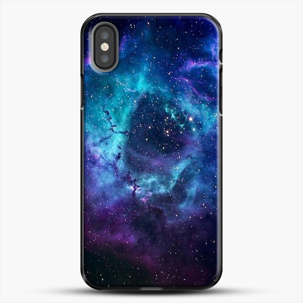 Blue Galaxy iPhone X Case, Black Plastic Case | JoeYellow.com