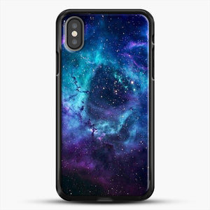 Blue Galaxy iPhone X Case, Black Rubber Case | JoeYellow.com