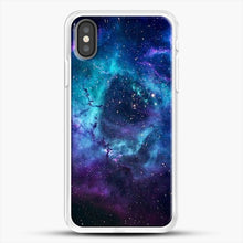 Load image into Gallery viewer, Blue Galaxy iPhone X Case, White Rubber Case | JoeYellow.com