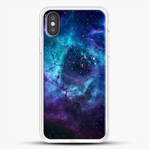 Blue Galaxy iPhone X Case, White Rubber Case | JoeYellow.com