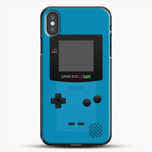 Load image into Gallery viewer, Blue Nintendo Gameboy Color iPhone X Case, Black Plastic Case | JoeYellow.com