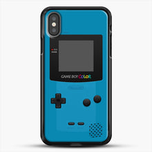 Load image into Gallery viewer, Blue Nintendo Gameboy Color iPhone X Case, Black Rubber Case | JoeYellow.com