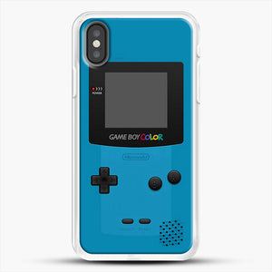 Blue Nintendo Gameboy Color iPhone X Case, White Rubber Case | JoeYellow.com