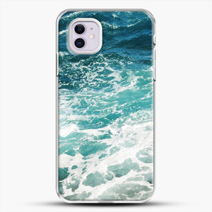 Blue Ocean Waves iPhone 11 Case, White Plastic Case | JoeYellow.com