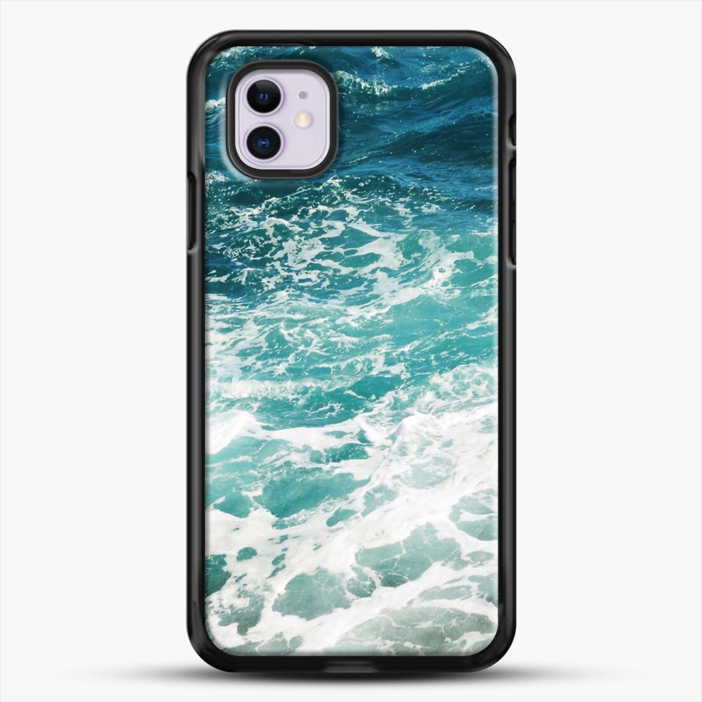Blue Ocean Waves iPhone 11 Case, Black Rubber Case | JoeYellow.com